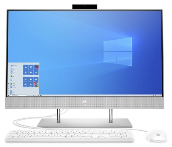 "Моноблок HP 27-dp0027ur NT 27"" FHD(1920x1080) Core i5-1035G1, 4GB DDR4 3200 (1x4GB), SSD 256Gb, Intel Internal Graphics, noDVD, kbd&mouse wired, HD Webcam, Natural Silver, FreeDos, 1Y Wty"